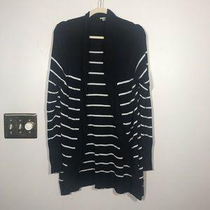 A NEW DAY Black/White Striped Open Cardigan, XXL